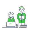 male reading documentation woman by laptop vector image vector image