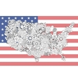Map of the United States of flowers vector image