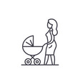 mom with a baby carriage line icon concept
