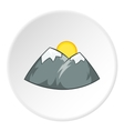 Mountains and sun icon cartoon style vector image vector image