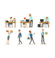 people working in office set male and female vector image vector image