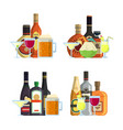 piles of alcoholic drinks in glasses and vector image vector image
