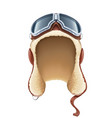 pilot leather helmet winter vector image vector image