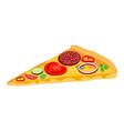 pizza slice in cartoon style icon for menu vector image vector image