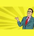 pop art businessman in vr glasses presents vector image