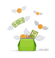 purse with flying dollar bills and coins vector image vector image