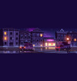 rainy street wet weather in night town with cars vector image