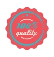 Red 100 percent quality label vintage style vector image vector image