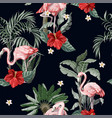 seamless pattern with pink flamingo flowers and vector image vector image