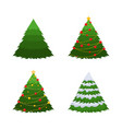 set of 4 firs a green fir a fir in snow a vector image