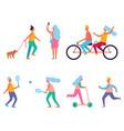 set of peoples activities vector image vector image