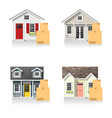 set of small houses and cardboard boxes vector image vector image