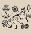 set with pin-up girl and elements for design vector image