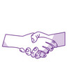silhouette nice hands together like friendship vector image vector image