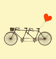 tandem bicycle and heart vector image