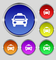 Taxi Icon sign Round symbol on bright colourful vector image vector image