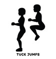 tuck jumps sport exersice silhouettes of woman vector image vector image