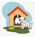 two dog house bowl food vector image vector image
