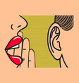 woman lips with hand whispering in mans ear vector image