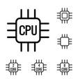 thin line cpu processor icons set vector image