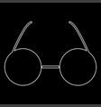 glasses white color path icon vector image