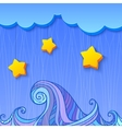 Shaded decoration with cloud and stars vector image