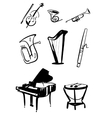 Symphony Orchestra Instruments Hand Drawn vector image