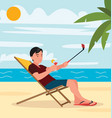 a man takes selfie on the beach vector image