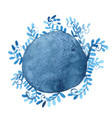 abstract blue ivy in round banner watercolor vector image