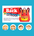 back to school banner backpack and pupils avatars vector image vector image