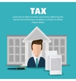 Bank and man icon Tax and Financial item vector image vector image