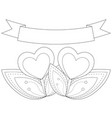 black and white heart plants under ribbon with vector image vector image