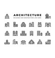 building line icons cityscape with skyscrapers vector image vector image