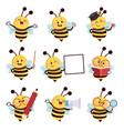 cartoon bee mascot vector image vector image