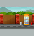 cartoon telephone box on the roadside with nature vector image
