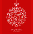christmas and new year bauble outline icon design vector image