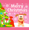 christmas background with dog vector image vector image