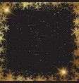 christmas background with golden snowflake border vector image vector image