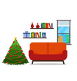 christmas room interior christmas tree wih sofa vector image vector image