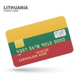 Credit card with Lithuania flag background for vector image vector image