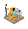 delivery logistics isometric 3d icon vector image