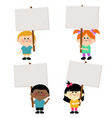 diverse group kids holding blank signs vector image vector image