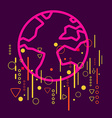 Earth on abstract colorful geometric dark vector image