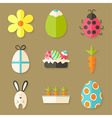 easter icons set with shadows over light brown vector image vector image