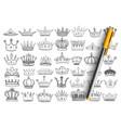 elegant crowns for kings doodle set vector image