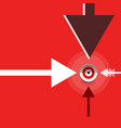 flat design arrows with target on red background vector image vector image