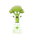 funny cartoon cute green broccoli character vector image
