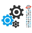 Gear Mechanism Icon With Free Bonus vector image vector image