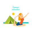 girl relaxes restores power to the beach summer vector image