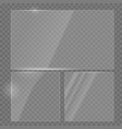 glass plate realistic set glass transparent vector image vector image